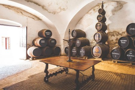 Barrels and table